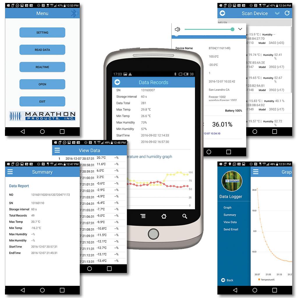 Phone App screens